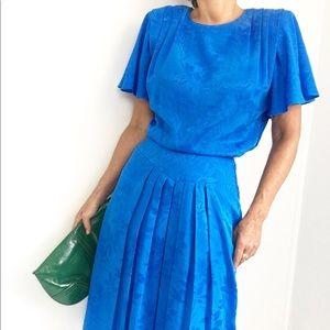 Vintage Cornflower Blue Pleated Day Dress
